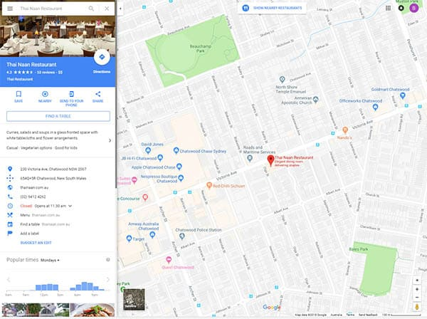 google maps setup with local seo for restaurant